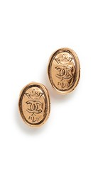 Wgaca What Goes Around Comes Around Chanel Gold Oval Crown Earrings