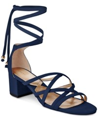 Adrienne Vittadini Alesia Lace Up Sandals Women's Shoes Navy