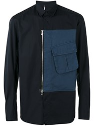 Oamc Zipped Cargo Pocket Shirt Blue