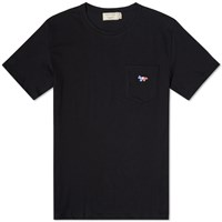 Maison Kitsune Tricolour Fox Pocket Tee Black