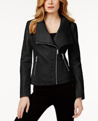 Guess Colorblocked Faux Leather Jacket Black