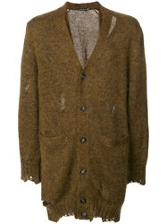 Alexander Mcqueen Distressed Longline Cardigan Men Silk Mohair L Brown
