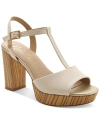 Nanette By Nanette Lepore Venus T Strap Platform Sandals Women's Shoes Ice