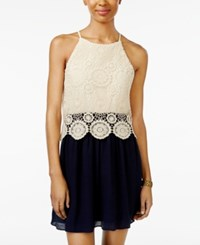 Amy Byer Bcx Juniors' Lace Halter A Line Dress Navy