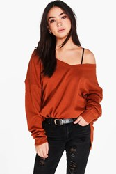 Boohoo Layla V Neck Loose Fit Jumper With Split Side Seams Ginger