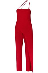 Michelle Mason One Shoulder Asymmetric Satin Jumpsuit Red