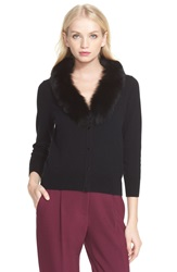 Milly Merino Wool Cardigan With Genuine Fox Fur Trim Black