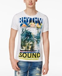 Guess Men's Rhythm And Sound Graphic Print Cotton T Shirt True White
