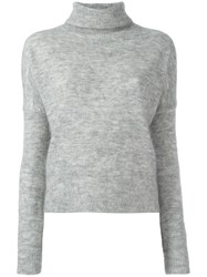 Designers Remix Cropped Roll Neck Jumper Grey