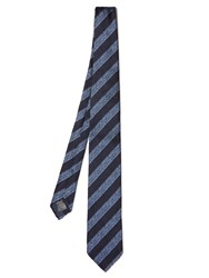 Dunhill Wide Striped Silk Tie Navy Multi