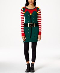 It's Our Time Juniors' Elf Sweater Dress Black Comb