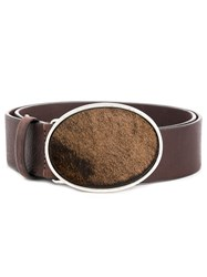 Just Cavalli Oval Buckled Belt Brown