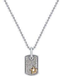 No Vendor Diamond Dog Tag Pendant Necklace 1 5 Ct. T.W. In Sterling Silver And 14K Gold