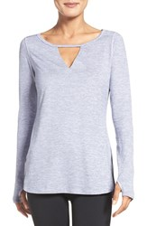 Zella Women's 'Rejuvenate' Keyhole Long Sleeve Tee Purple Spray