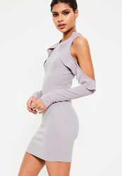 Missguided Grey Frill Cold Shoulder Bodycon Dress
