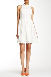 Orla Kiely Crew Neck Eyelet Dress White