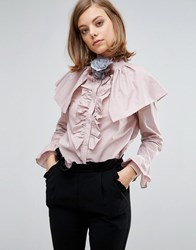 Sister Jane Blouse With Ruffles And Shoulder Details Pink