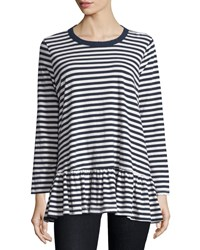 The Great The Baggy Striped Ruffle Tee Navy Cream Stripe Navy And Cream Stri