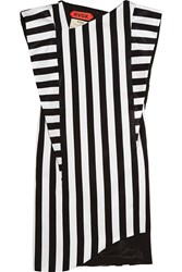 Ronald Van Der Kemp Striped Satin Mini Dress Black White