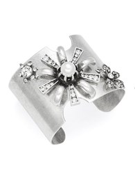Gerard Yosca Faux Pearl Accented Starburst Cuff Bracelet Silver