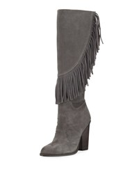 Cynthia Vincent Navy Fringe Suede Knee Boot Smoke