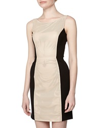Vakko Sleeveless Perforated Leather Dress Cream Black