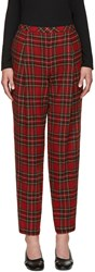 Rosetta Getty Red Wool Tartan Trousers