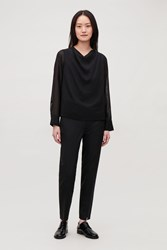 Cos Lightweight Wool Top Black