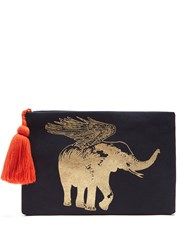 Figue Flying Elephant Print Cotton Pouch Navy Gold