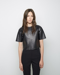 Alexander Wang Cropped Leather Tee Black
