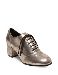 Design Lab Lord And Taylor Suzia Lace Up Round Toe Oxfords Silver