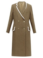 Fendi Double Breasted Bow Back Wool And Silk Blend Coat Brown Multi