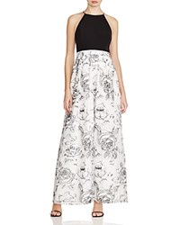 Aqua Embroidered Gown Ivory Black