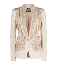 Just Cavalli Crystal Embellished Tuxedo Jacket Female Beige