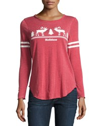 Chaser Holidaze Christmas Print Top Red