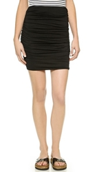 Three Dots Ruched Miniskirt Black