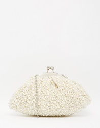 Moyna Hand Beaded Pearl Clutch Cream