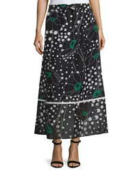 See By Chloe Floral Print A Line Maxi Skirt Black Multi Black Multi