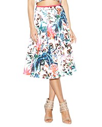 Nicole Miller Orchid Jungle Neoprene Printed Flare Skirt White Multi