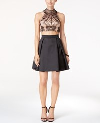 Xscape Evenings Two Piece Beaded Open Back Fit And Flare Dress Black Nude
