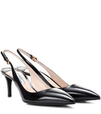 Prada Leather Slingback Pumps Black