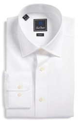 David Donahue Men's Big And Tall Trim Fit Solid Dress Shirt White