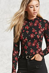 Forever 21 Floral Print Bodysuit Black Red