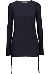 Helmut Lang Ribbed Cashmere Sweater Midnight Blue