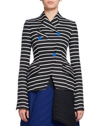 Proenza Schouler Striped Asymmetric Suiting Jacket Black White Black White