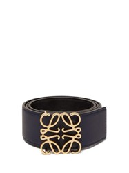 Loewe Anagram Buckle Leather Belt Black