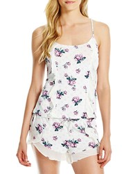 Jessica Simpson Love U Two Piece Cami And Short Set White Floral
