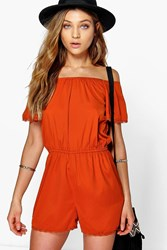 Boohoo Off The Shoulder Woven Playsuit Rust