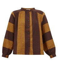 Ace And Jig Barret Striped Cotton Blouse Brown Multi