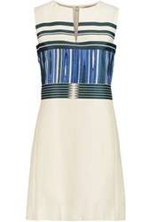 Tory Burch Mikado Printed Silk And Cotton Blend Mini Dress Ivory